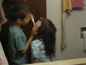 Making sure he got those back teeth.